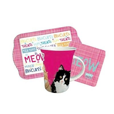 """Teatime Gift Set - Waggy Tails - Mixed Cats """"Meow"""""""