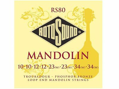 Rotosound Troubadour RS80 Mandolin 8 String Strings Set Phosphor Bronze Loop End