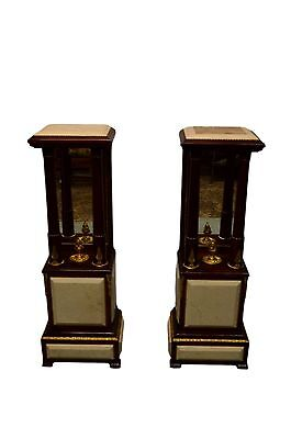Pair French Empire Style Marble Pedestal Stands Columns Mirrored Back