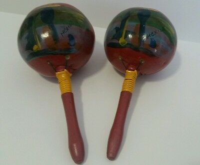 Pair of Vintage Hand Painted Made In Mexico Red Maracas Shakers 8 Inch