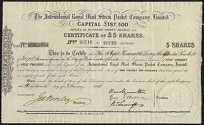 Intercolonial Royal Mail Steam Packet Co. Ltd., 5 shares of £5, 1861