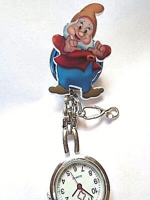 Nurse Watch Silver Pin Brooch with silver charm Bashful Grumpy Doc stethoscope