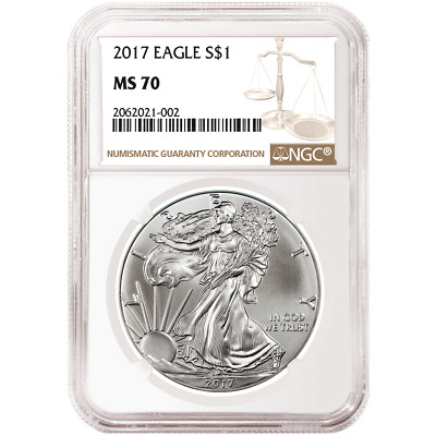 2017 $1 American Silver Eagle NGC MS70 Brown Label