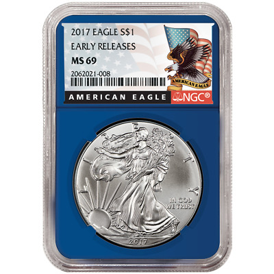 2017 $1 American Silver Eagle NGC MS69 Early Releases Black ER Label Blue Core