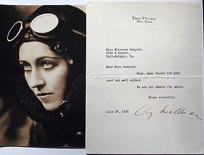 Amy Johnson Mollison Record Setting Aviation Pioneer Signed Letter 1933 ''Rare''