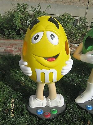 Collectible Rare-YELLOW M&M CANDY Character Store Display with Wheels  3FT Tall