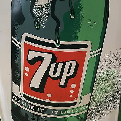 Original Vintage 1962 Embossed Tin 7 Up Soda Pop Store Advertising Sign