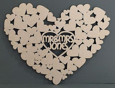 F332 PERSONALISED HUGE Love Heart Wedding Signing Board Guest Book Alternative
