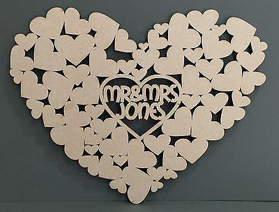 F332 XXL PERSONALISED BIG DAY Heart Wedding Signing Board Guest Book Alternative