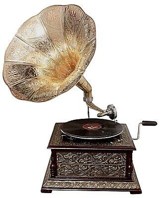 Replica Gramophone Embossed 78 rpm Phonograph Brass Horn HMV Vintage Wind Up