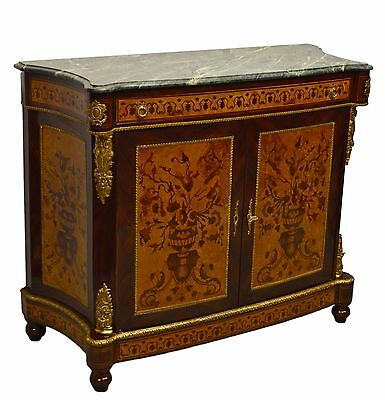 French Style Inlaid Sideboard w. Marble Top Server Buffet