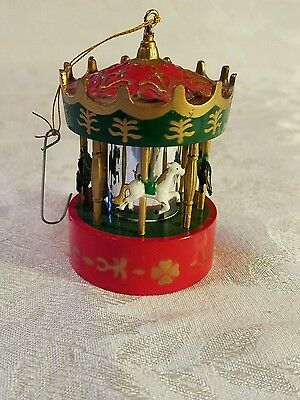 Vintage Plastic Horse Carousel Merry Go Round Christmas Ornament 4 1/4""