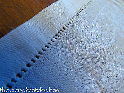 Antique White Linen Damask Napkin Lot of 3 Gorgeous Old Textile 14.5in