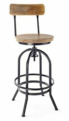 Rustic Industrial bar stool wooden top  shabby vintage chic kitchen chair black