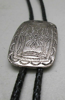 Vintage Western Bolo Tie Black Cord Hammered Silver Tone Made in Mexico