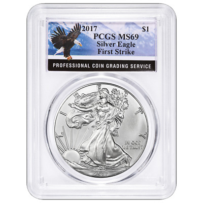 2017 $1 American Silver Eagle PCGS MS69 Eagle First Strike Label