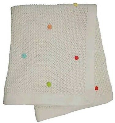 New Lollipop Lane Tiddly Wink Safari Knitted Cream Blanket 70 x 90cm Free Del!