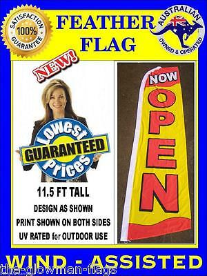 NOW OPEN flag wind-assisted Extra Large feather flag