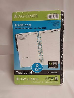 NEW! Day-Timer 2017 2-Page-Per-Day Original Planner Refill Desk Size  #92010