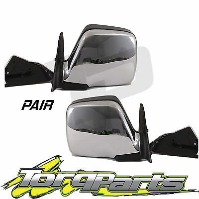 Pair Of Electric Chrome Side Mirrors Suit Toyota 80 Series Landcruiser Rear