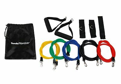 Bundle Monster 11 Piece Color Coded Latex Resistance Exercise Band Set - NEW
