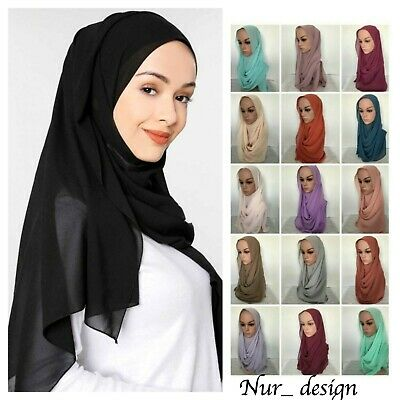 High Quality Plain Bubble Chiffon Muslim Scarf Wrap Hijab Headcover 180 x 70 cm
