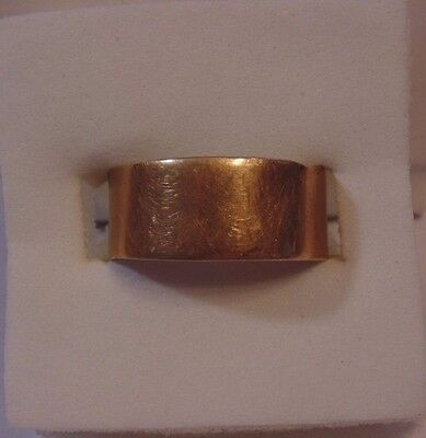 Victorian Art Deco 10k Solid Yellow Gold Wedding Band Wide Ring Size 6 1/2