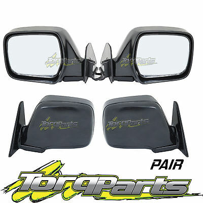 Pair Of Electric Black Side Mirrors Suit Toyota 80 Series Landcriuser Rear