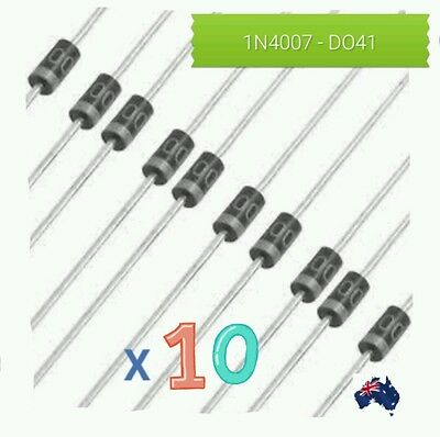 AUS STOCK-New 10pcs/set 1000V 1A  Diode 1N4007 IN4007 DO-41 Rectifie Diodes
