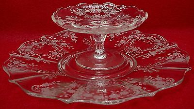 FOSTORIA crystal MEADOW ROSE 6016 Cheese & Cracker Set - Baroque Shape