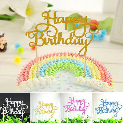 Happy Birthday Candle Party Cake Topper Supplies Decor Gold/Silver/Blue/Pink Hot