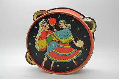 Vintage Old Tambourine Gypsy Women Tin Reliable Series Made In England