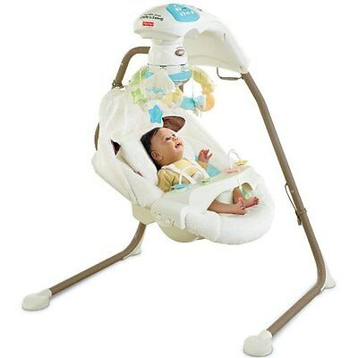 Fisher-Price Cradle 'N Swing With AC Adapter My Little Lamb Wall Power Very Good