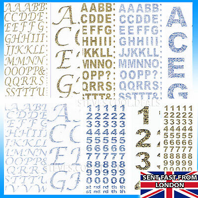 Self Adhesive Stick On Glitter Alphabet Letters Numbers For Card Making Craft