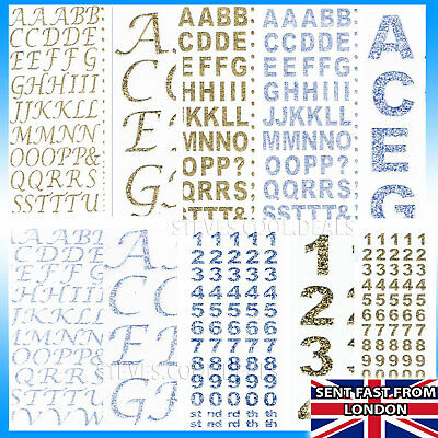 Self Adhesive Stickers Glitter Alphabet Letters Numbers BOLD / SCRIPT CARD CRAFT