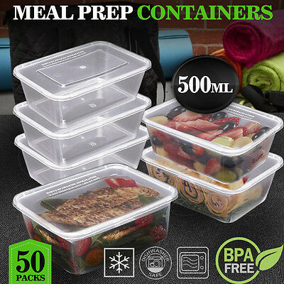 TAKE AWAY CONTAINERS 50Pc & LIDS 50Pc 500ML DISPOSABLE PLASTIC FOOD CONTAINERS