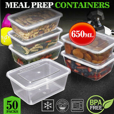 TAKE AWAY CONTAINERS 50Pc & LIDS 50Pc 650ML DISPOSABLE PLASTIC FOOD CONTAINERS