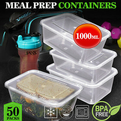 TAKE AWAY CONTAINERS 50Pc & LIDS 50Pc 1000ML DISPOSABLE PLASTIC FOOD CONTAINERS