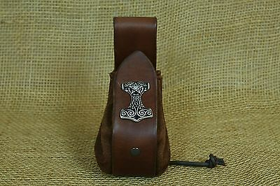 Pouch Viking Coins bag Leather brown Thor hammer Decorative rivet Belt loop
