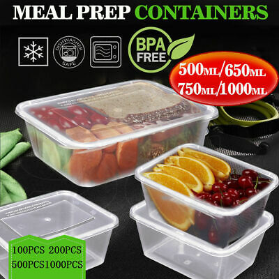 Food Containers Take away Plastic Base + Lids Bulk 500ml 650ml 750ml 1000ml