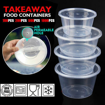 TAKE AWAY CONTAINERS 50Pc & LIDS 50Pc DISPOSABLE PLASTIC FOOD CONTAINERS