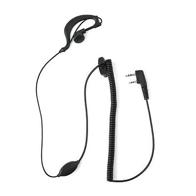 2 Pin Mic Headset Earpiece Earphone Curly Cable for Kenwood Radio Black E6