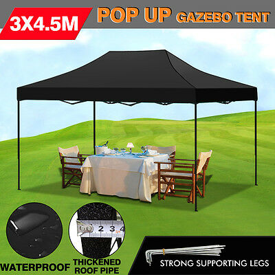 3X4.5M Pop Up Folding Gazebo Outdoor Marquee Party Canopy Market Tent Shade BBQ