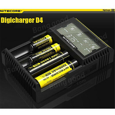 Nitecore D4 Digicharger LCD Smart Battery Charger lifepo4 26650 22650 18650 AAA