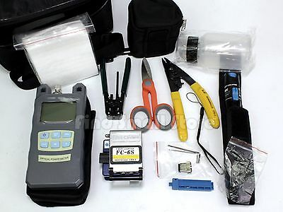US FTTH Tool Kit 14IN1 FC-6S Cleaver Optical Power Meter Visual Fault Locator