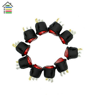 High Quality 10PCS Mini Round Black 3 Pin SPDT ON-OFF Snap-in Rocker Switch