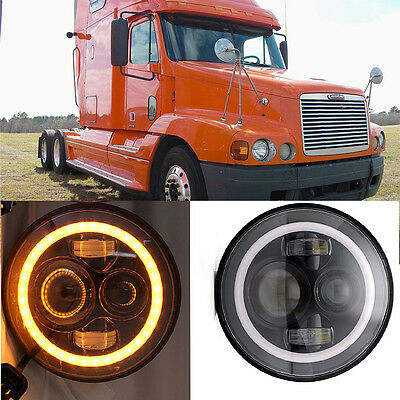 2x 7inch Round LED Projector Headlight For Freightliner Century Pre 2005 Model