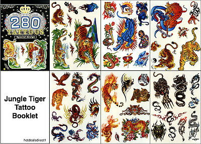 Boys Tribal Dragon Tiger Skull Snake Spider Temporary Tattoos Body Art 6 Sheets