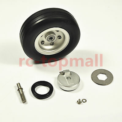 1 pair 3.5inch Rubber Wheel with Brake Rubber Tire suit for RC Aircraft