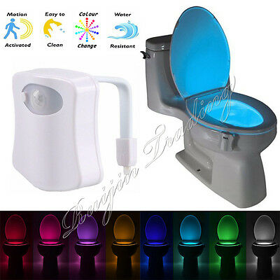 8 Colors Human Motion Sensor Automatic Seat LED Light Toilet Bowl Bathroom Lamp